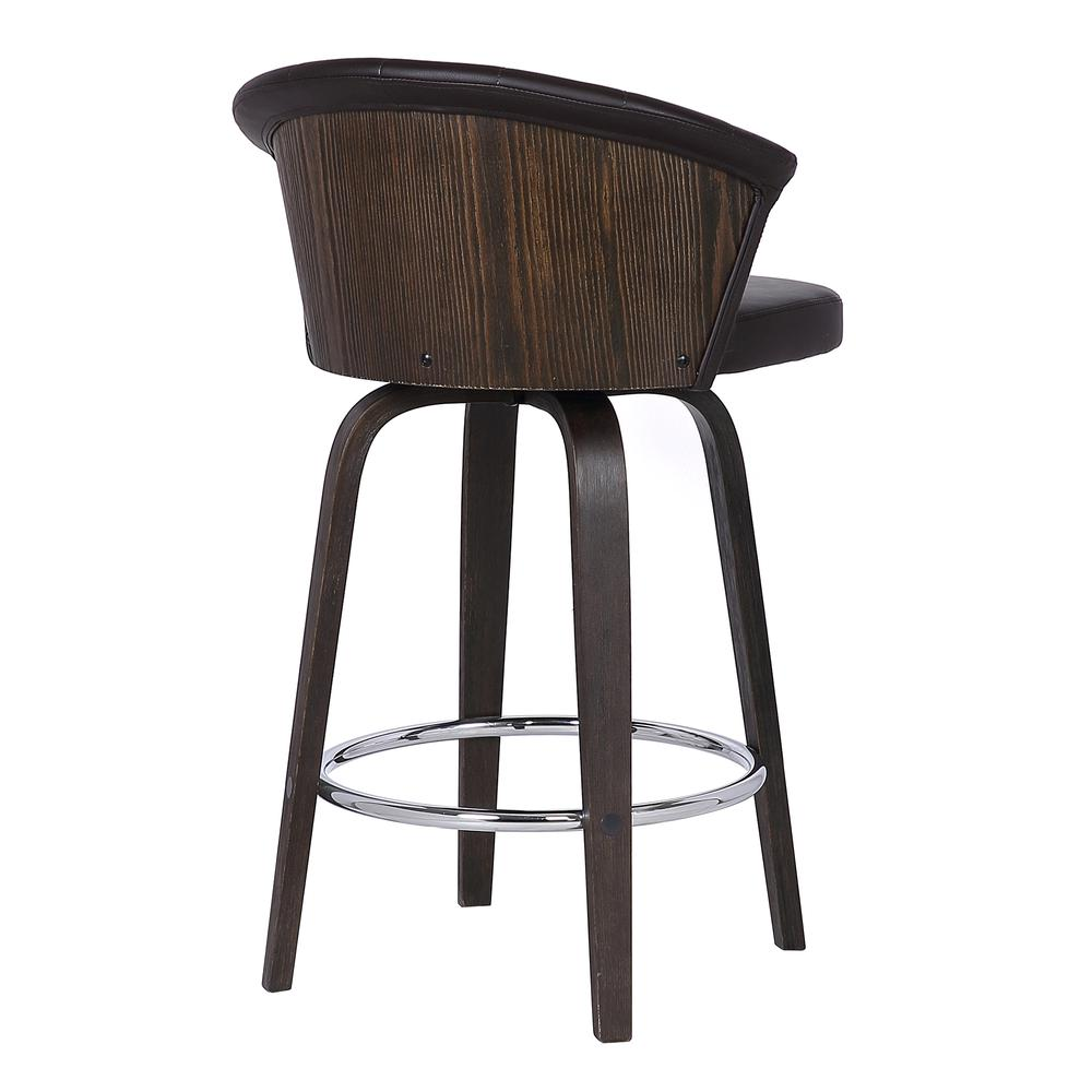 "Back 30"" Swivel Brown Faux Leather Bar Stool. Picture 4"
