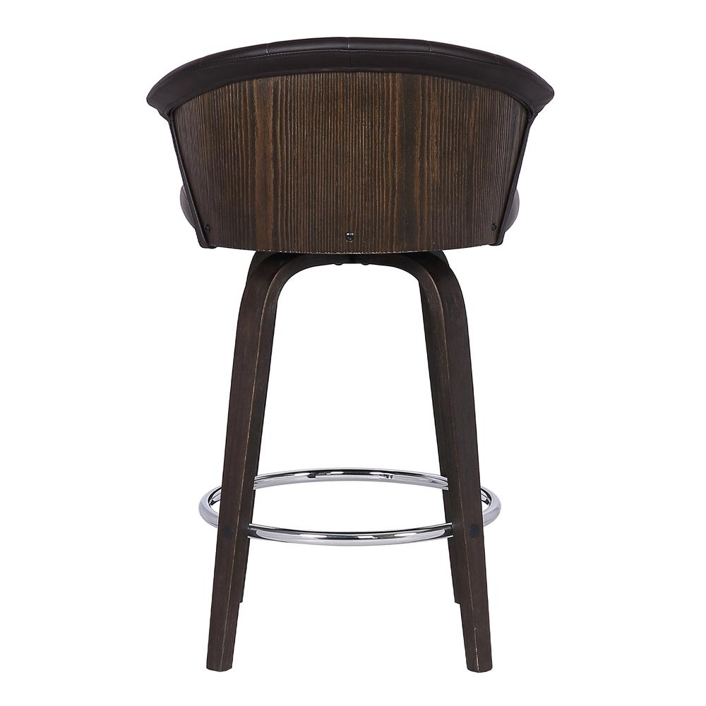 "Back 30"" Swivel Brown Faux Leather Bar Stool. Picture 5"