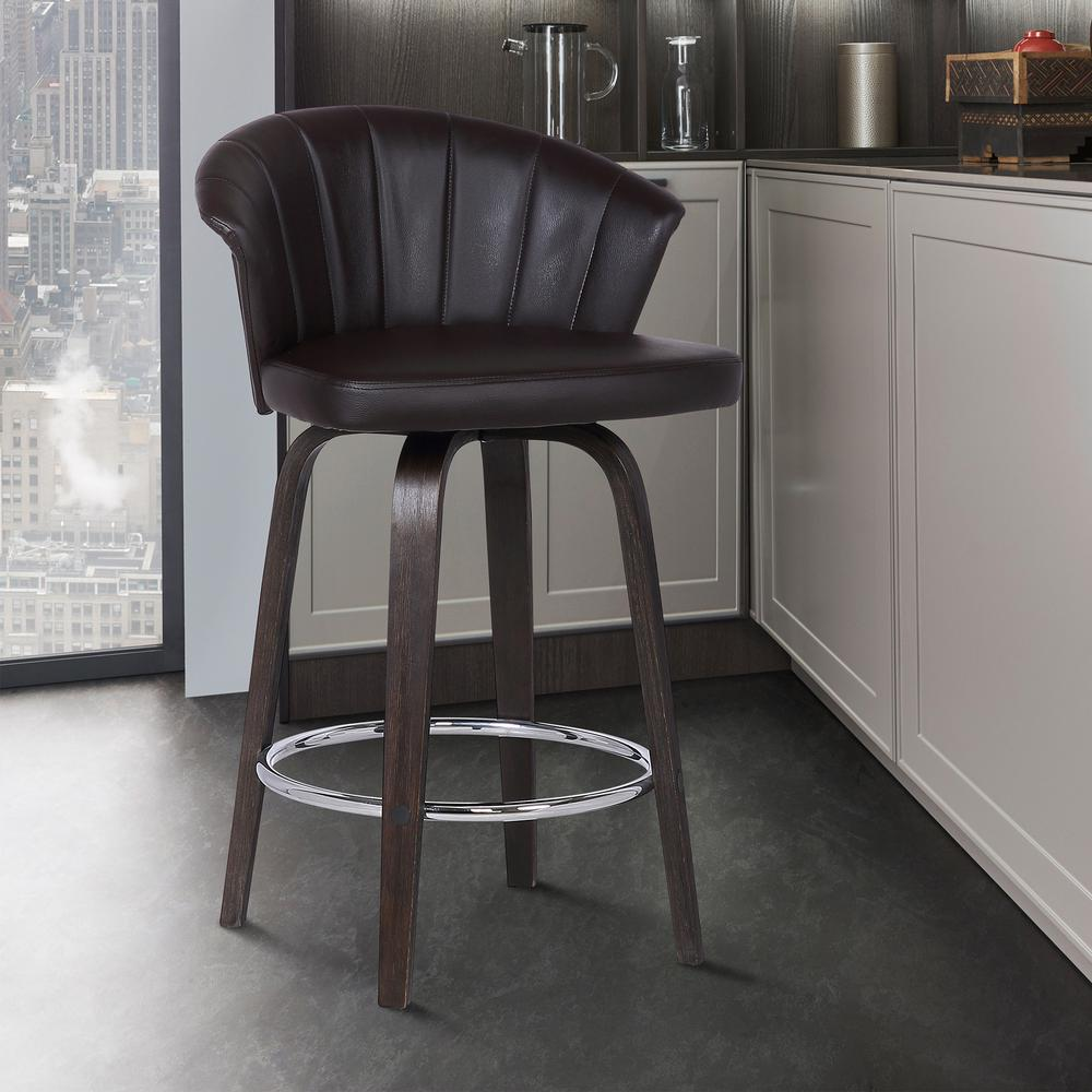 "Back 30"" Swivel Brown Faux Leather Bar Stool. Picture 6"