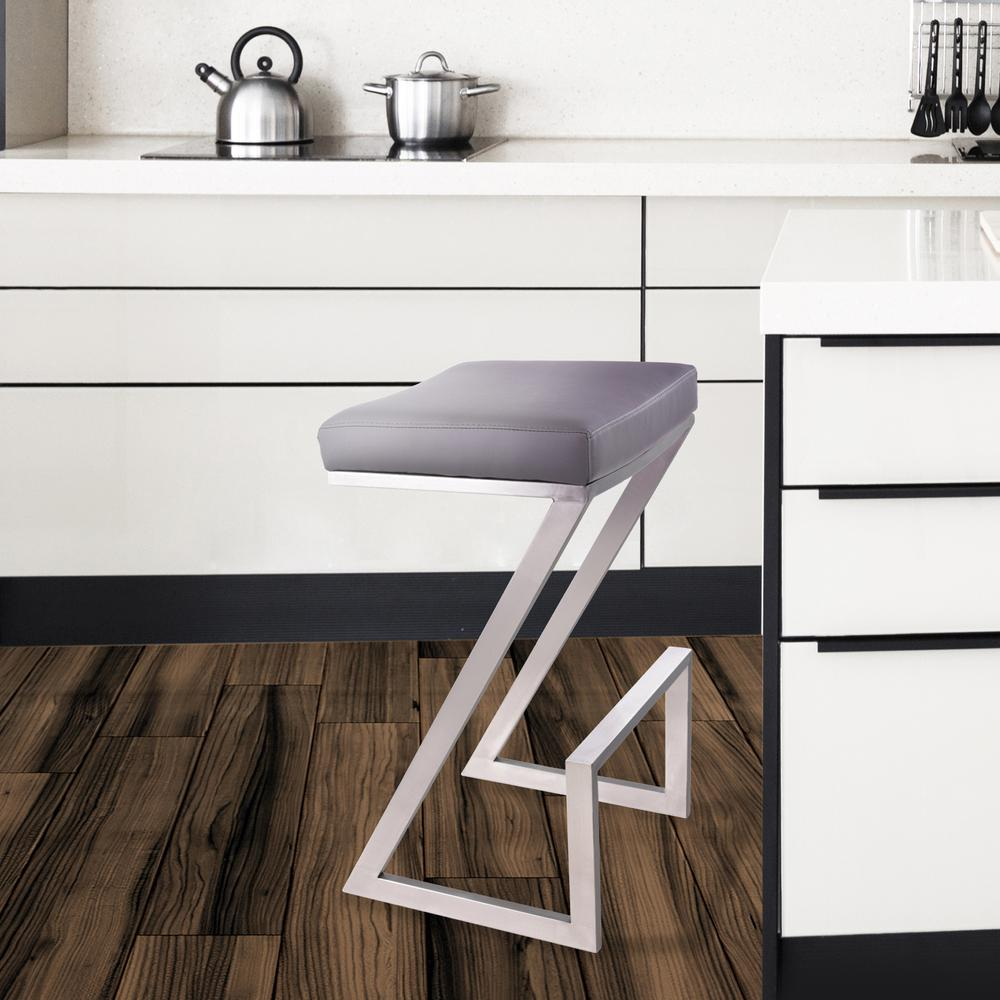 Atlantis 26 Quot Backless Barstool In Brushed Stainless Steel