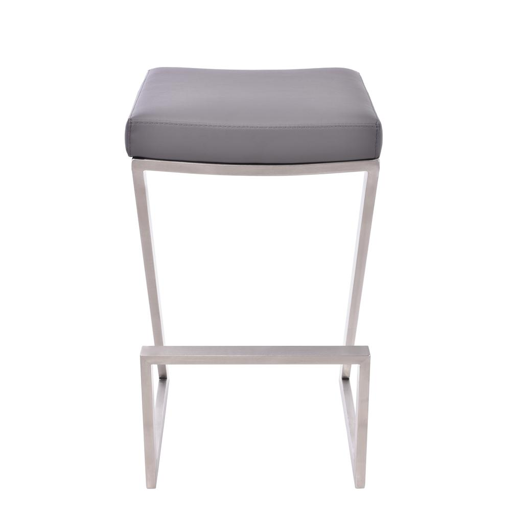 """Armen Living Atlantis 30"""" Bar Height Backless Barstool in Brushed Stainless Steel finish with Grey Faux Leather. Picture 2"""