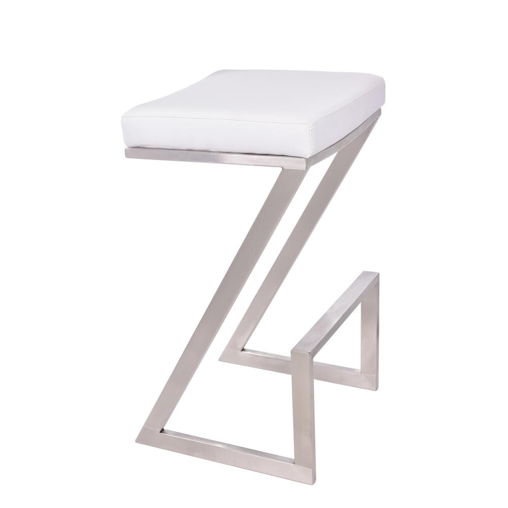"""Armen Living Atlantis 30"""" Bar Height Backless Barstool in Brushed Stainless Steel finish with White Faux Leather. Picture 1"""