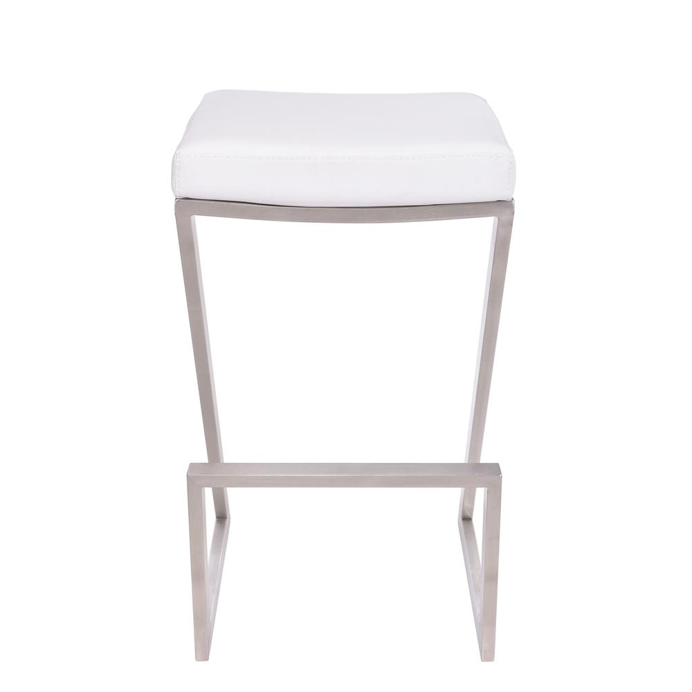 """Armen Living Atlantis 30"""" Bar Height Backless Barstool in Brushed Stainless Steel finish with White Faux Leather. Picture 2"""