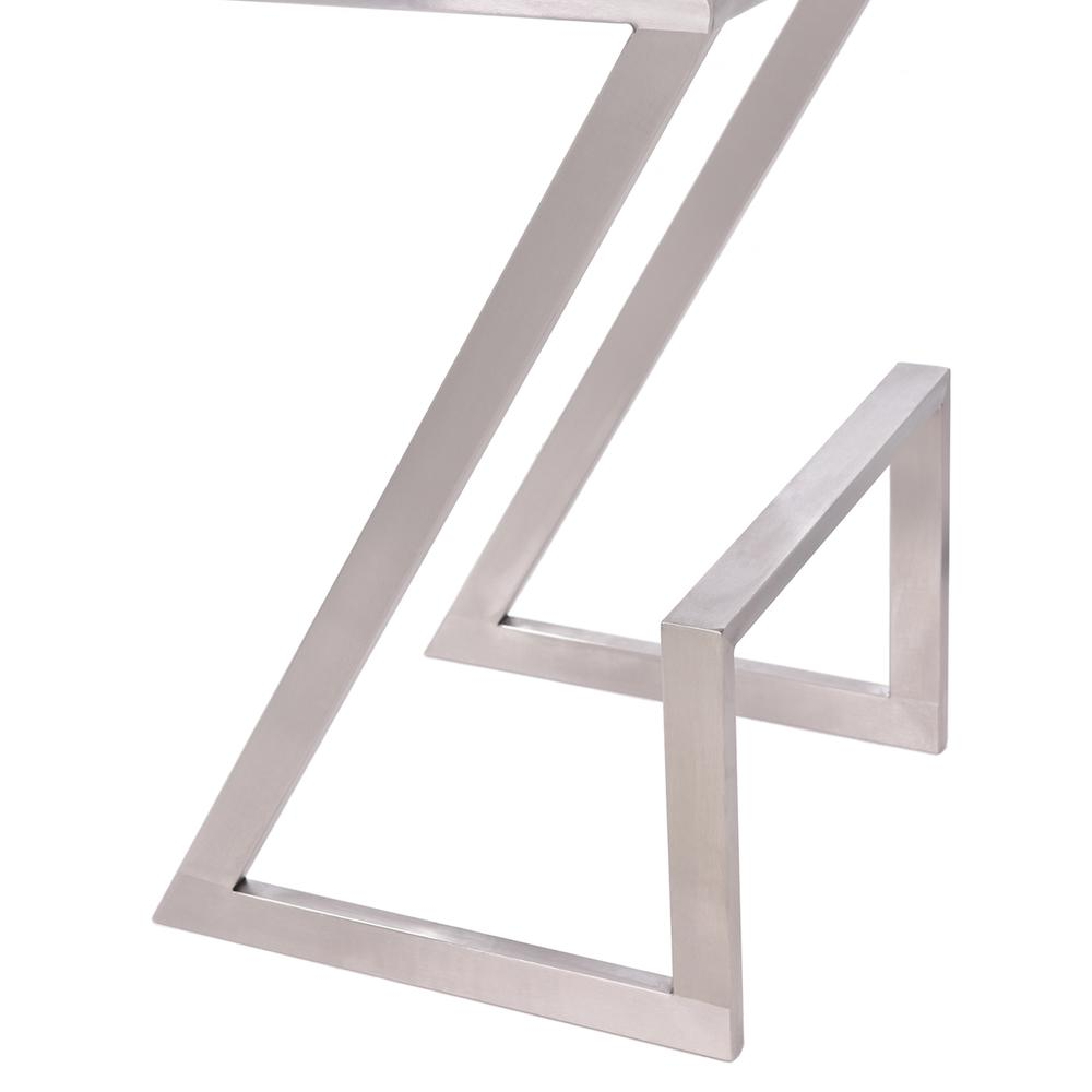 """Armen Living Atlantis 30"""" Bar Height Backless Barstool in Brushed Stainless Steel finish with White Faux Leather. Picture 4"""
