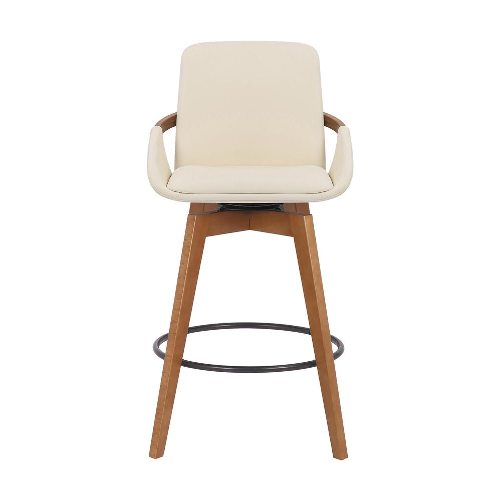Baylor Swivel Wood Bar or Counter Height Stool in Faux Leather in WALNUT. Picture 1