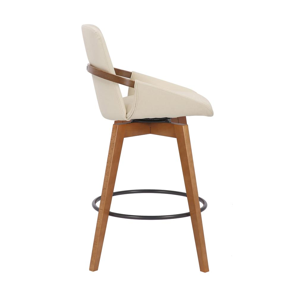 Baylor Swivel Wood Bar or Counter Height Stool in Faux Leather in WALNUT. Picture 2
