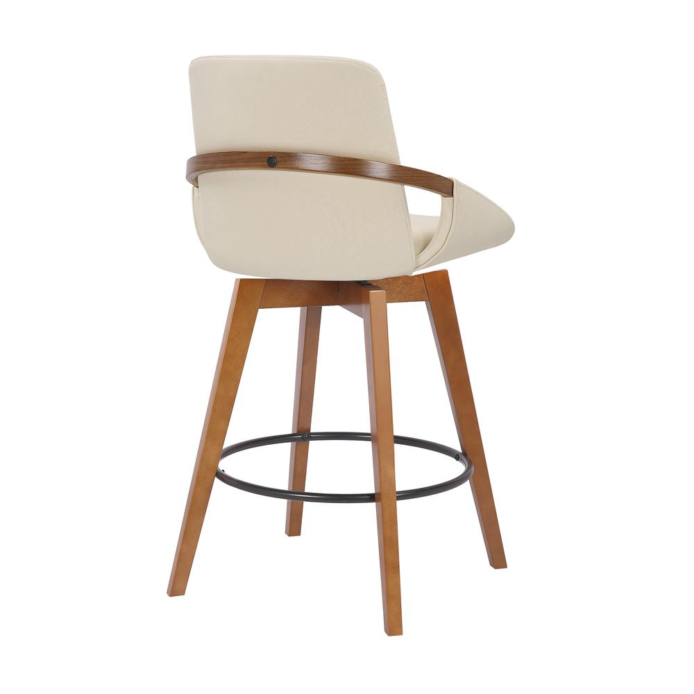 Baylor Swivel Wood Bar or Counter Height Stool in Faux Leather in WALNUT. Picture 3