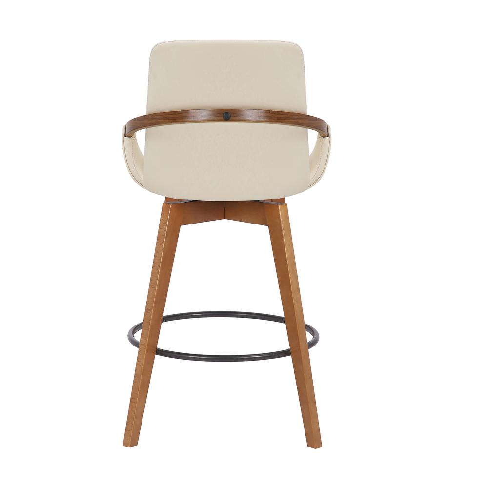 Baylor Swivel Wood Bar or Counter Height Stool in Faux Leather in WALNUT. Picture 4