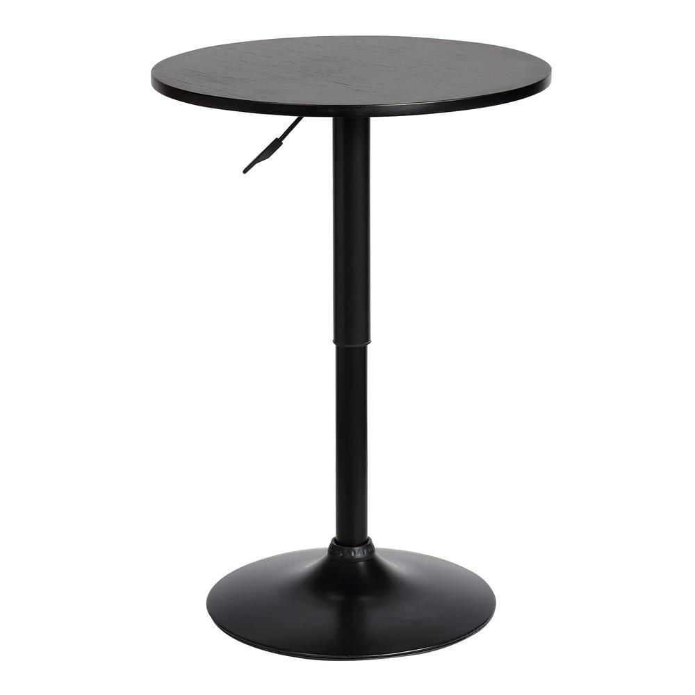 Adjustable Pub Table in Black Brushed Wood and Black Metal finish. Picture 1