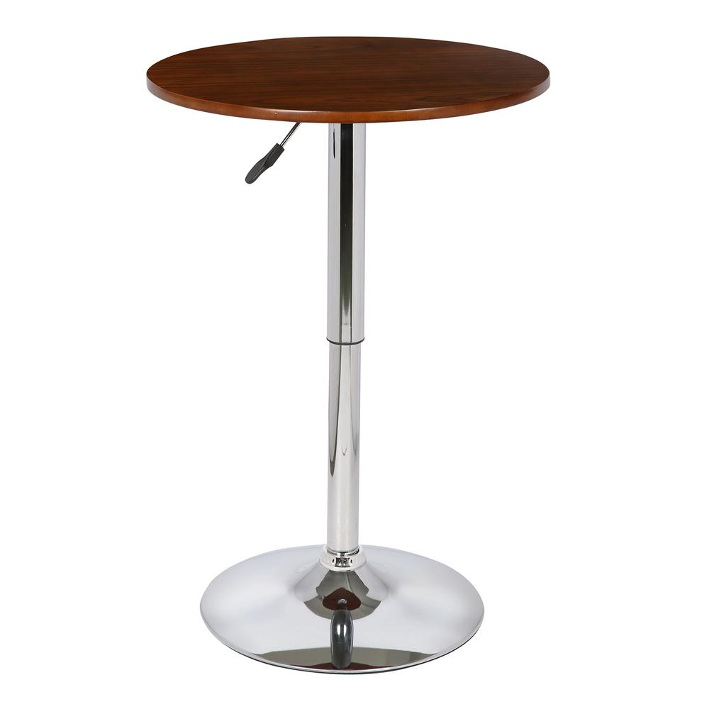 Adjustable Pub Table in Walnut Wood and Chrome finish. Picture 1