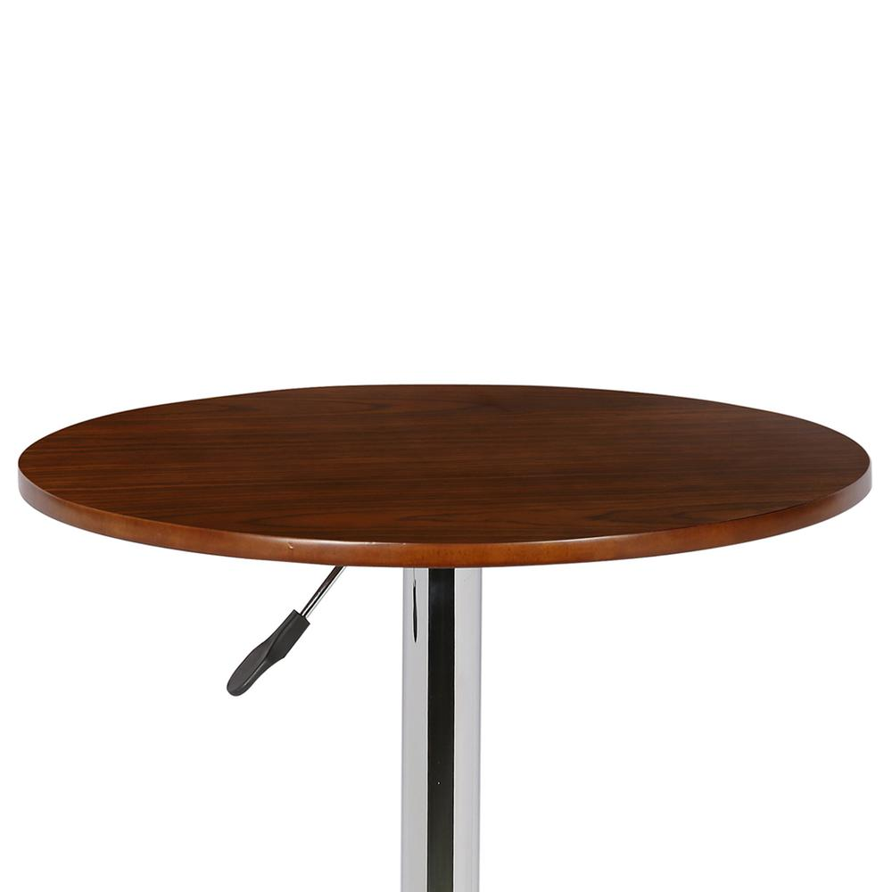 Adjustable Pub Table in Walnut Wood and Chrome finish. Picture 2