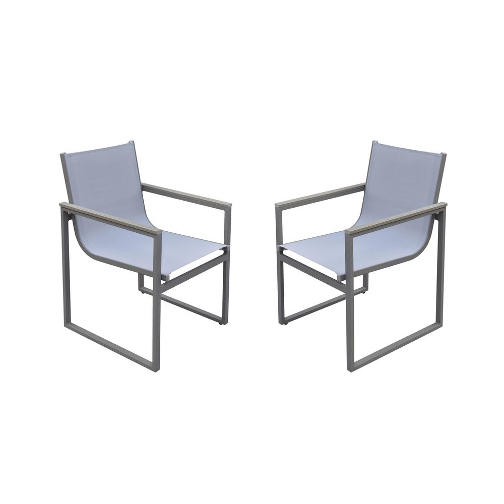 Bistro Outdoor Patio Dining Chair inGrey Powder Coated Finish with GreySling Textilene andGrey Wood Accent Arms - Set of 2. Picture 1