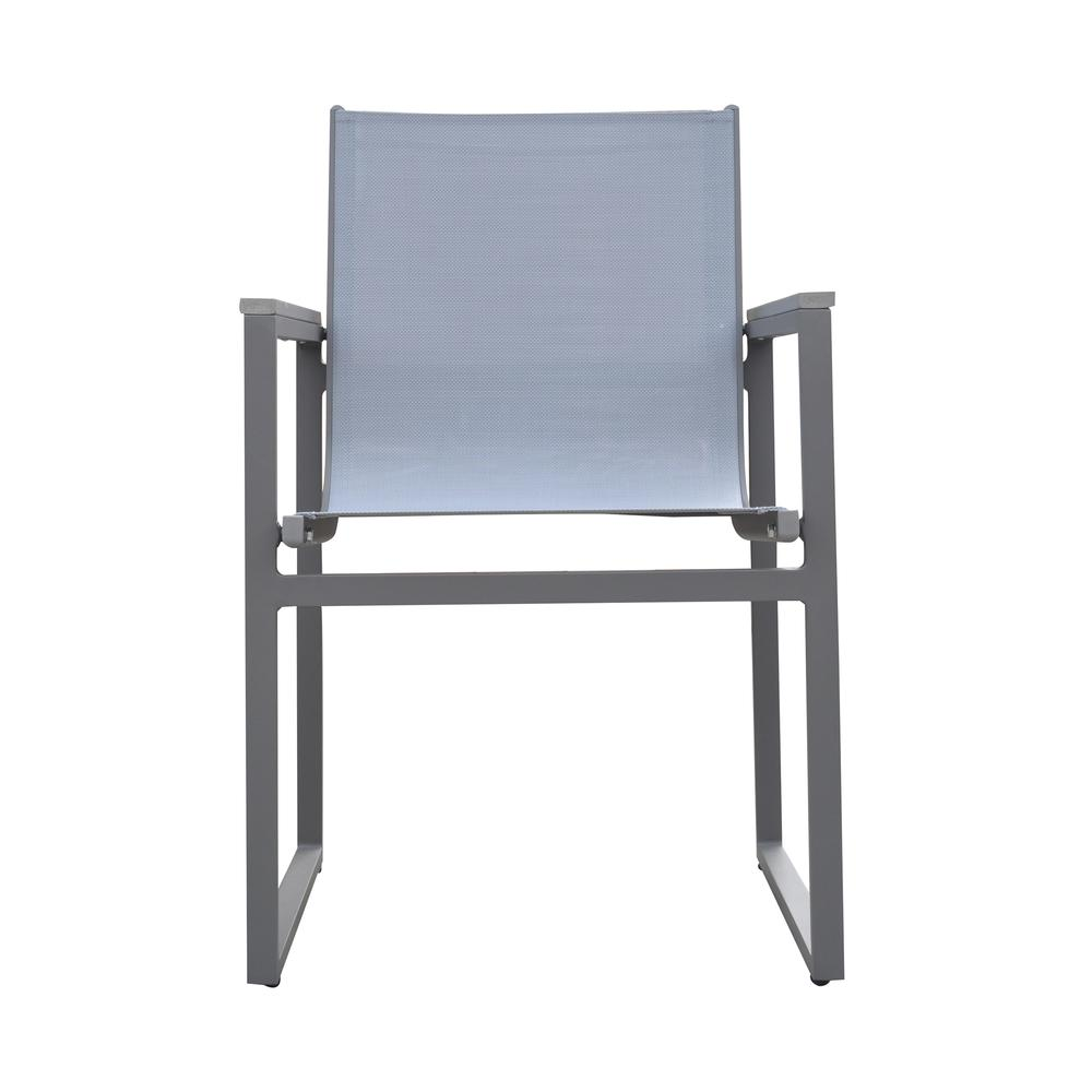 Bistro Outdoor Patio Dining Chair inGrey Powder Coated Finish with GreySling Textilene andGrey Wood Accent Arms - Set of 2. Picture 2