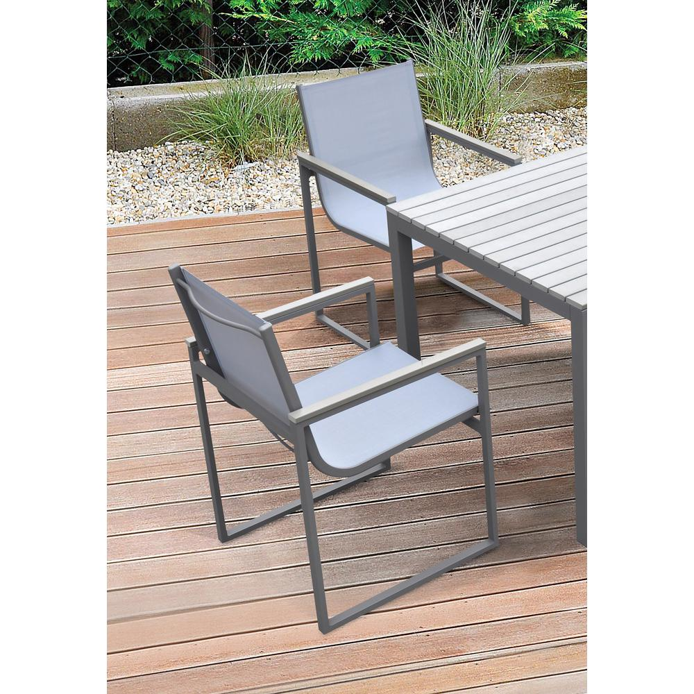 Bistro Outdoor Patio Dining Chair inGrey Powder Coated Finish with GreySling Textilene andGrey Wood Accent Arms - Set of 2. Picture 6