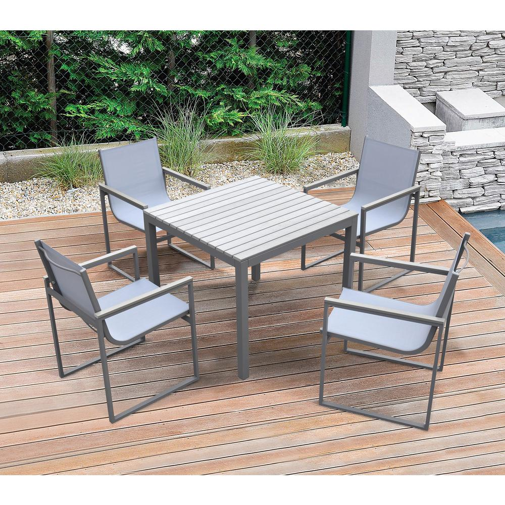 Bistro Outdoor Patio Dining Chair inGrey Powder Coated Finish with GreySling Textilene andGrey Wood Accent Arms - Set of 2. Picture 7