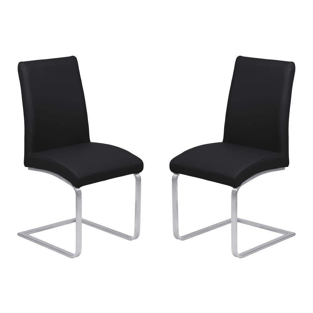 Armen Living Blanca Contemporary Dining Chair in Black Faux Leather with Brushed Stainless Steel Finish - Set of 2. Picture 1