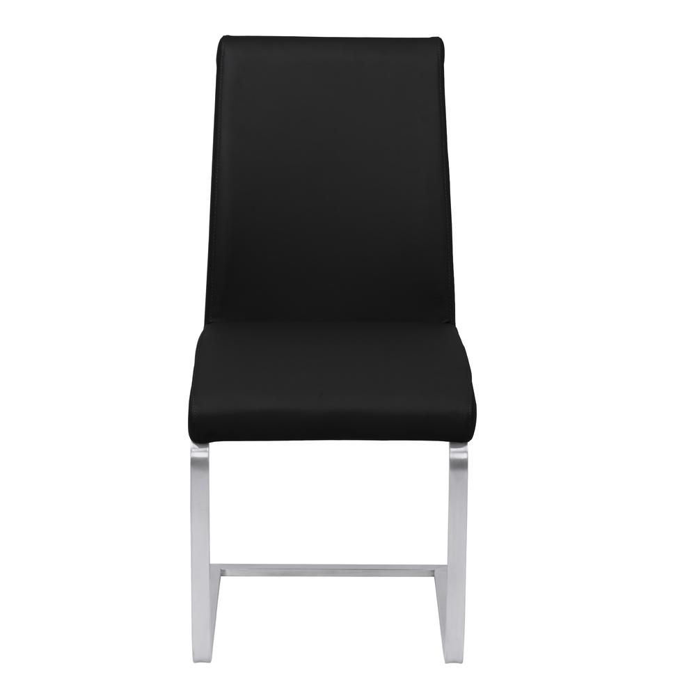 Armen Living Blanca Contemporary Dining Chair in Black Faux Leather with Brushed Stainless Steel Finish - Set of 2. Picture 2