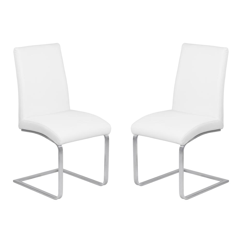 Contemporary Dining Chair in White Faux Leather with Brushed Stainless Steel Finish - Set of 2. Picture 1