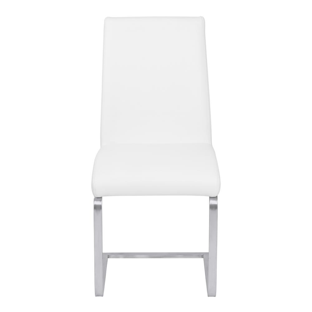 Contemporary Dining Chair in White Faux Leather with Brushed Stainless Steel Finish - Set of 2. Picture 2