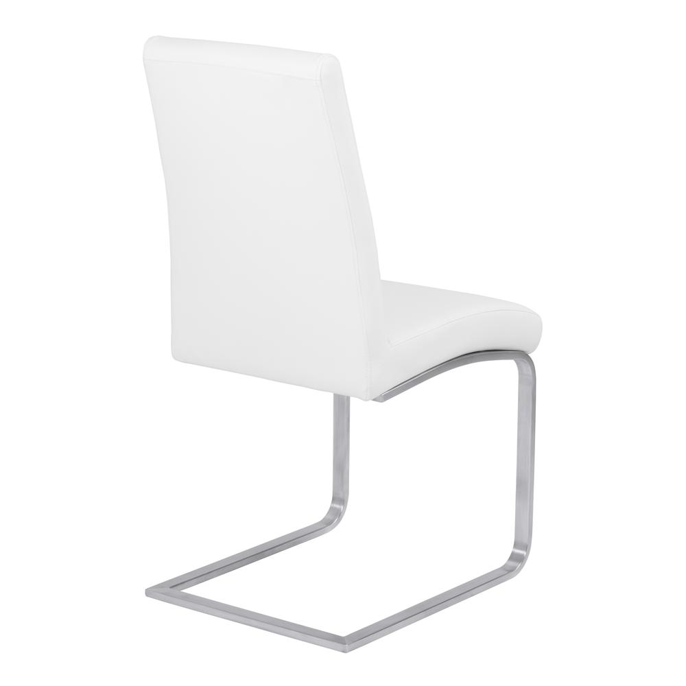Contemporary Dining Chair in White Faux Leather with Brushed Stainless Steel Finish - Set of 2. Picture 3
