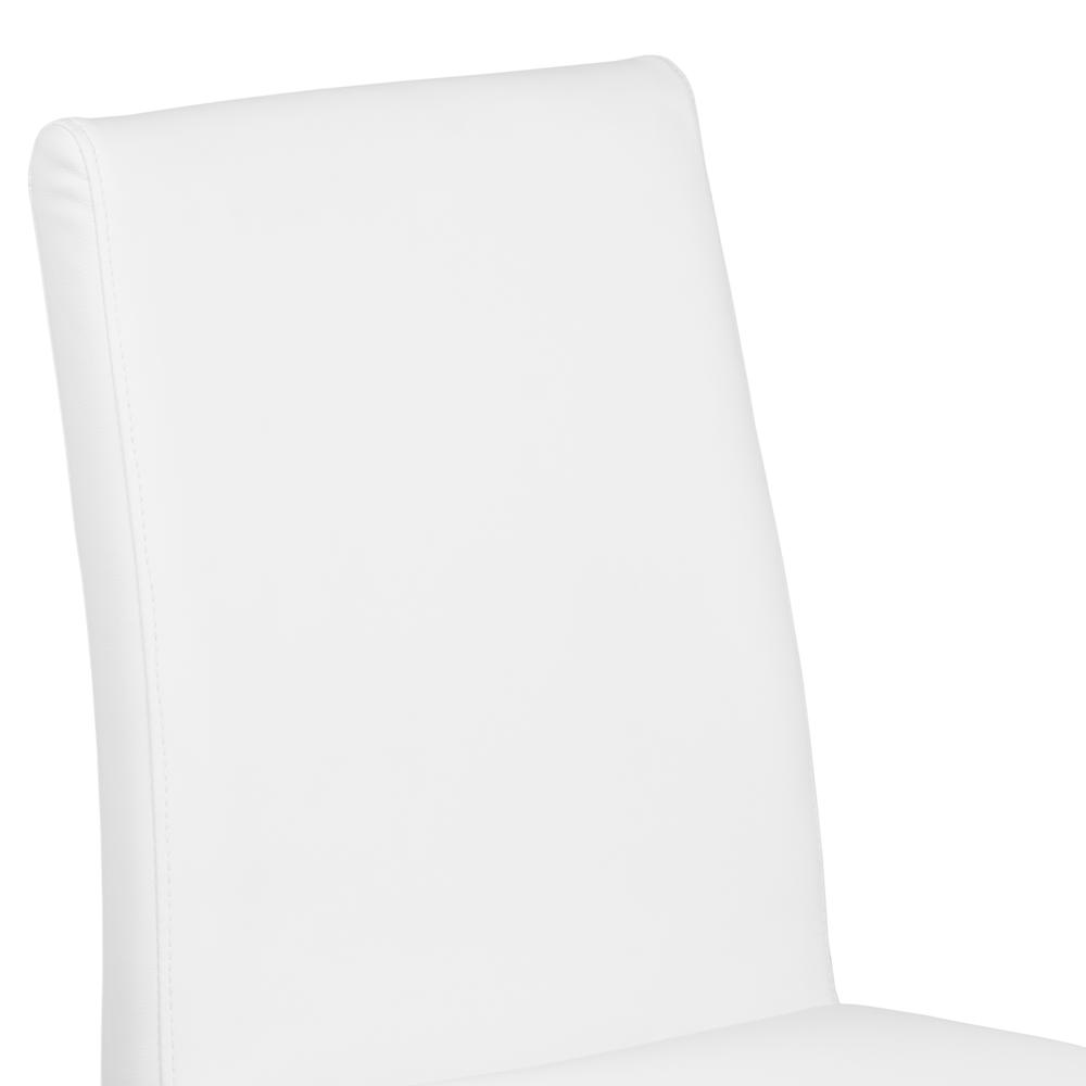 Contemporary Dining Chair in White Faux Leather with Brushed Stainless Steel Finish - Set of 2. Picture 4