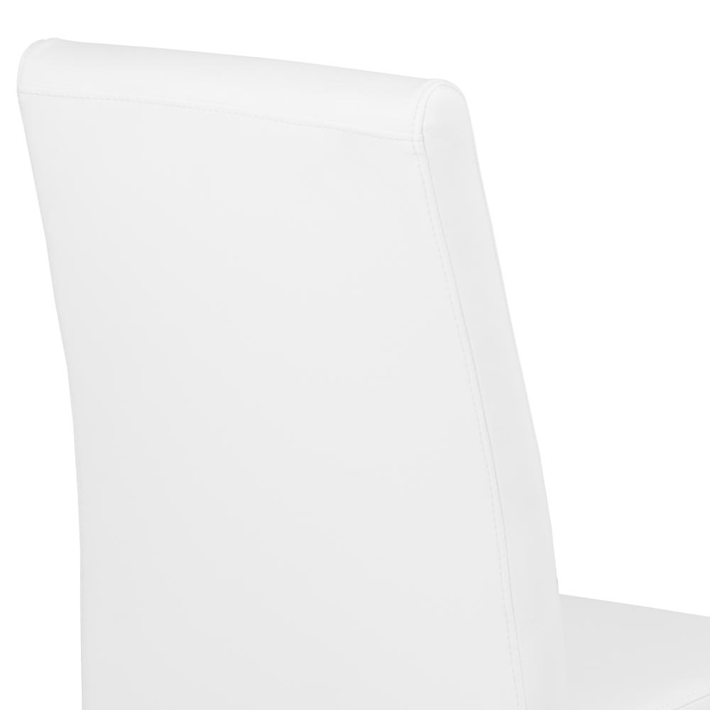 Contemporary Dining Chair in White Faux Leather with Brushed Stainless Steel Finish - Set of 2. Picture 5