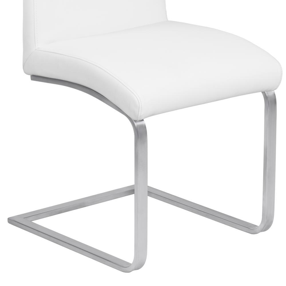 Contemporary Dining Chair in White Faux Leather with Brushed Stainless Steel Finish - Set of 2. Picture 6