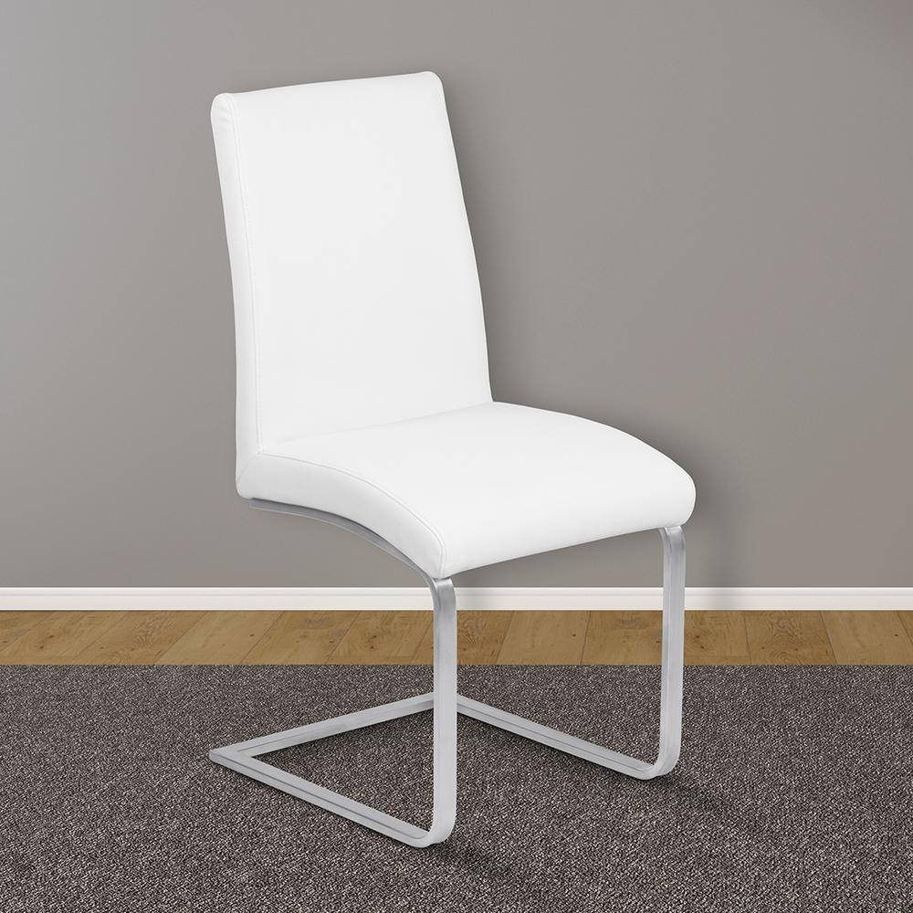 Contemporary Dining Chair in White Faux Leather with Brushed Stainless Steel Finish - Set of 2. Picture 7