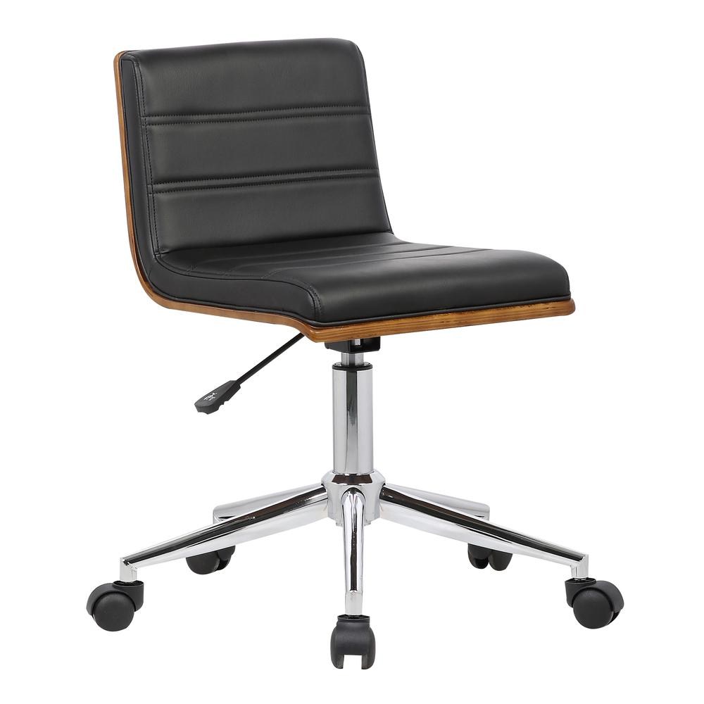 Mid-Century Office Chair in Chrome finish with Black Faux Leather and Walnut Veneer Back. Picture 1