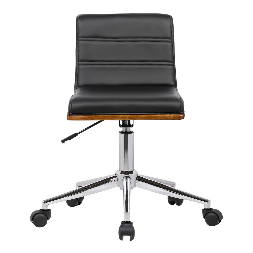 Armen Living Bowie Mid-Century Office Chair in Chrome finish with Black Faux Leather and Walnut Veneer Back. Picture 2