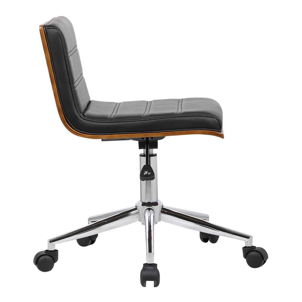 Armen Living Bowie Mid-Century Office Chair in Chrome finish with Black Faux Leather and Walnut Veneer Back. Picture 3