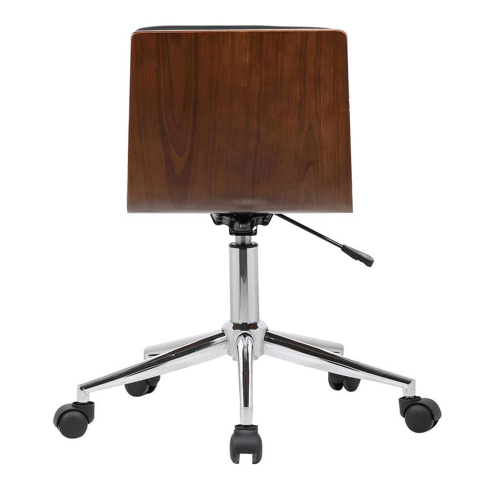 Armen Living Bowie Mid-Century Office Chair in Chrome finish with Black Faux Leather and Walnut Veneer Back. Picture 4