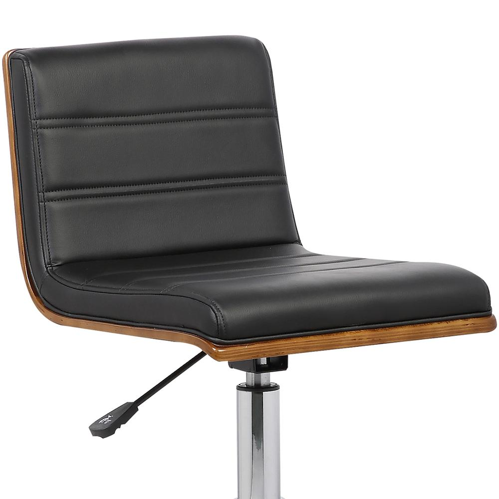 Armen Living Bowie Mid-Century Office Chair in Chrome finish with Black Faux Leather and Walnut Veneer Back. Picture 5