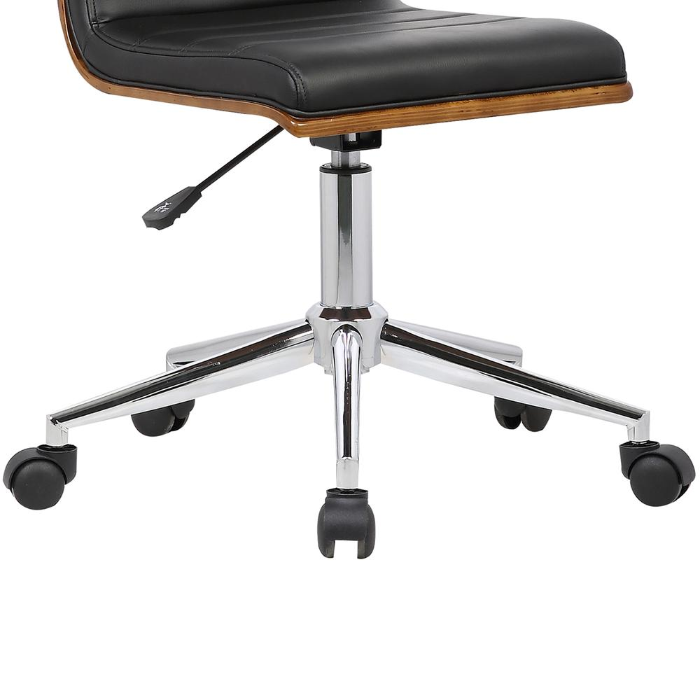 Mid-Century Office Chair in Chrome finish with Black Faux Leather and Walnut Veneer Back. Picture 7