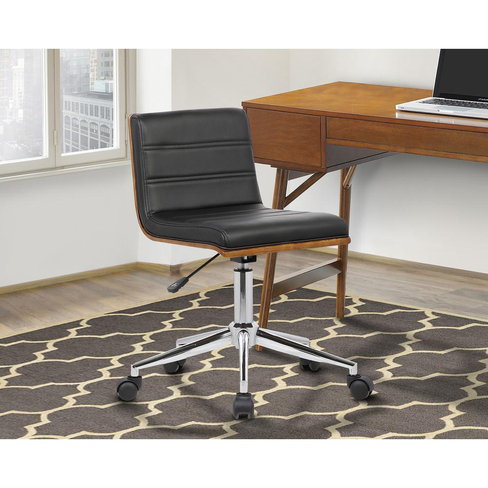 Mid-Century Office Chair in Chrome finish with Black Faux Leather and Walnut Veneer Back. Picture 8