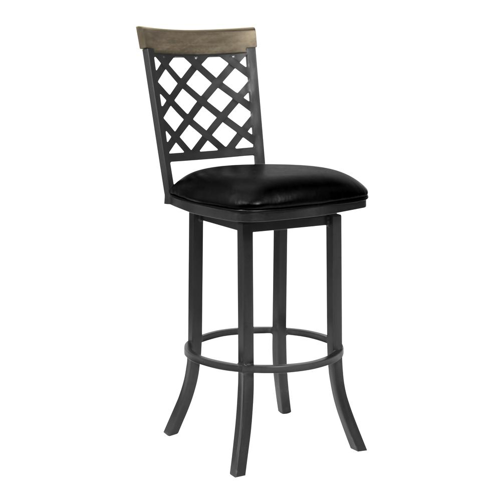 "26"" Counter Height Barstool in Mineral Finish with Vintage Black Faux Leather and Grey Walnut. Picture 1"