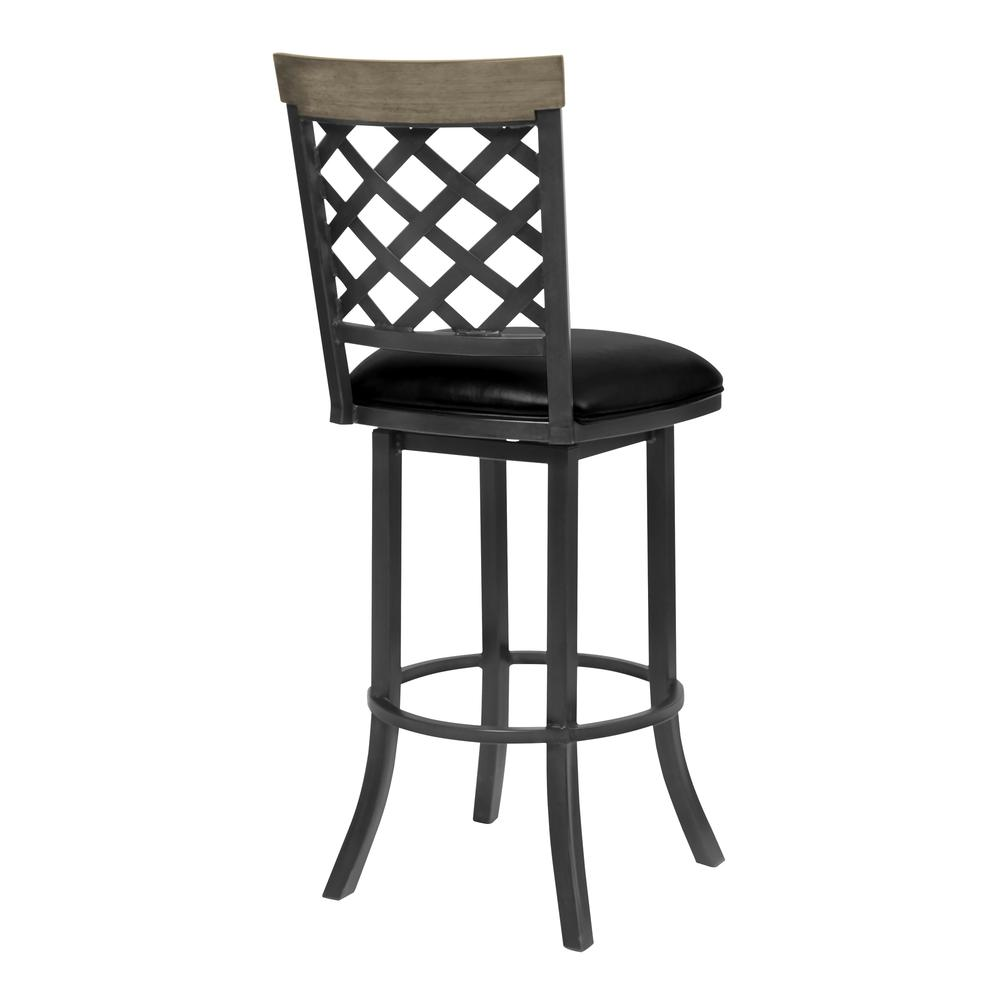 "26"" Counter Height Barstool in Mineral Finish with Vintage Black Faux Leather and Grey Walnut. Picture 2"