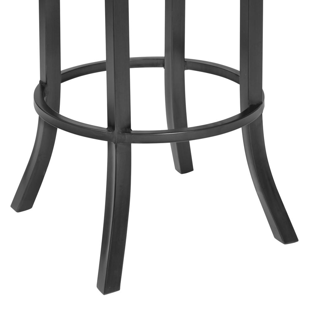 "26"" Counter Height Barstool in Mineral Finish with Vintage Black Faux Leather and Grey Walnut. Picture 5"