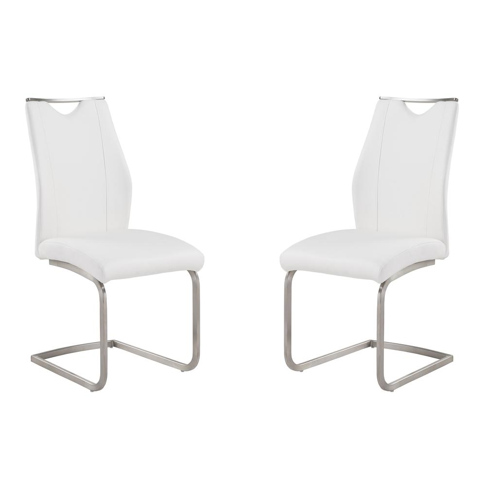 Armen Living Bravo Contemporary Dining Chair In White Faux Leather and Brushed Stainless Steel Finish - Set of 2. Picture 1