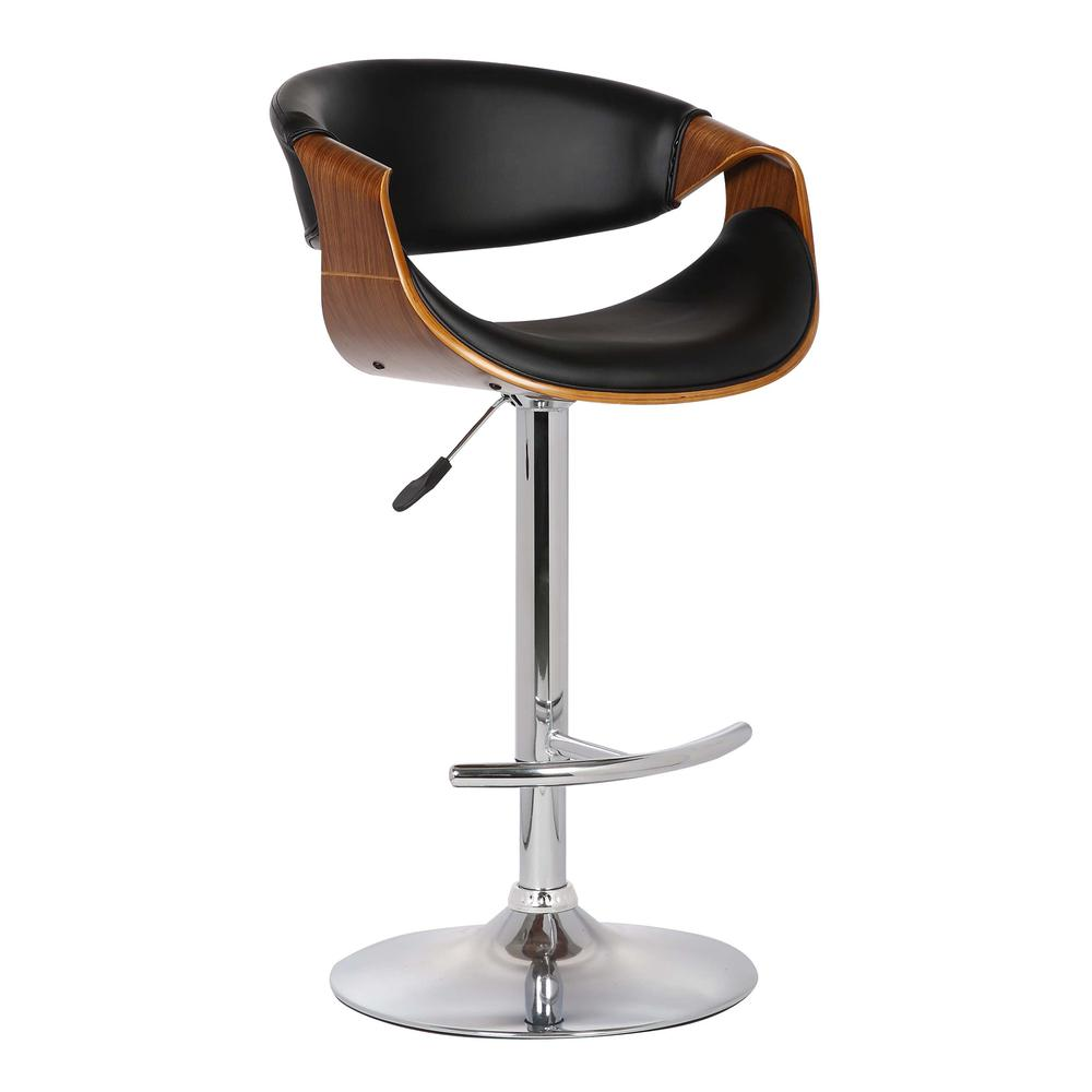 Adjustable Swivel Barstool in Black Faux Leather with Chrome Finish and Walnut Wood. Picture 1