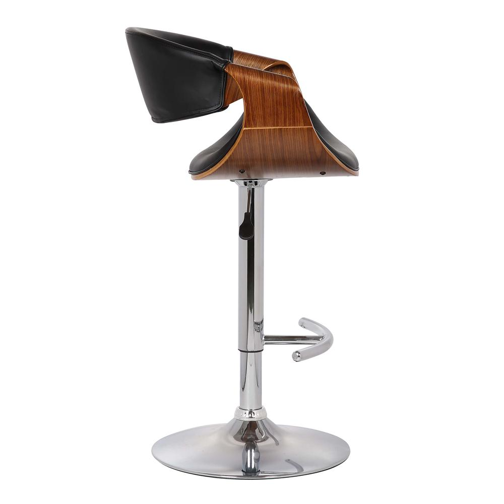 Adjustable Swivel Barstool in Black Faux Leather with Chrome Finish and Walnut Wood. Picture 2