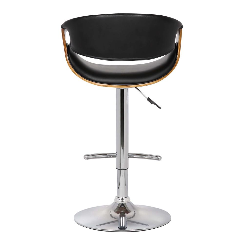 Adjustable Swivel Barstool in Black Faux Leather with Chrome Finish and Walnut Wood. Picture 3