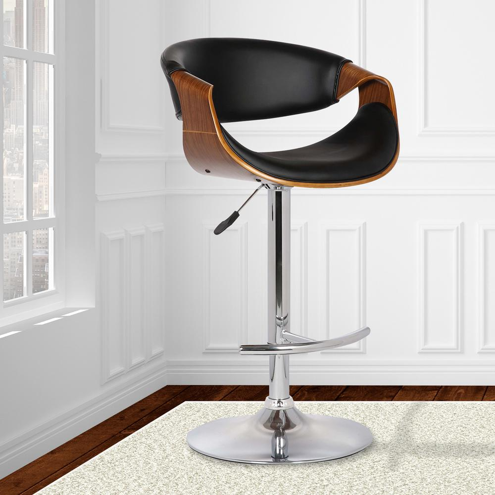 Adjustable Swivel Barstool in Black Faux Leather with Chrome Finish and Walnut Wood. Picture 8