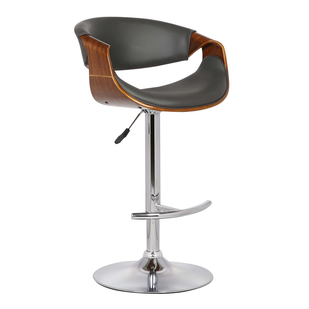 Adjustable Swivel Barstool in Gray Faux Leather with Chrome Finish and Walnut Wood. Picture 1