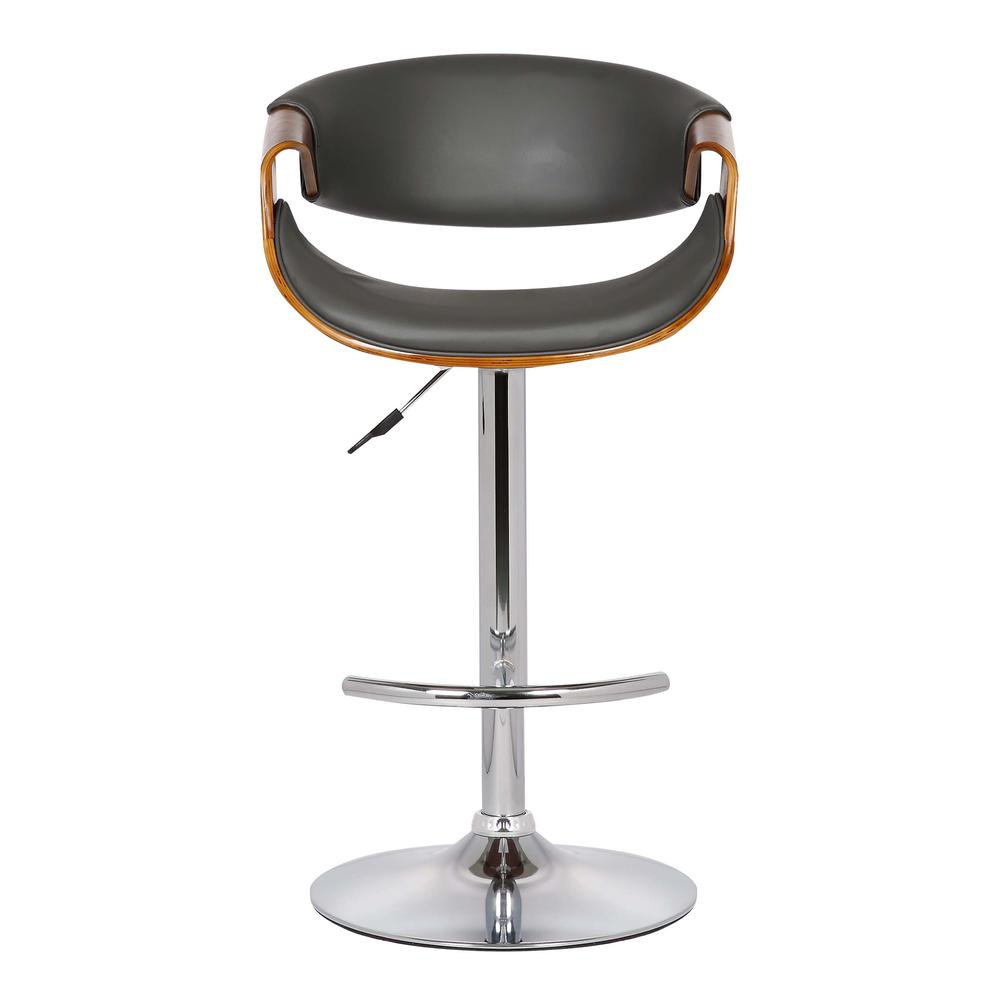 Adjustable Swivel Barstool in Gray Faux Leather with Chrome Finish and Walnut Wood. Picture 2