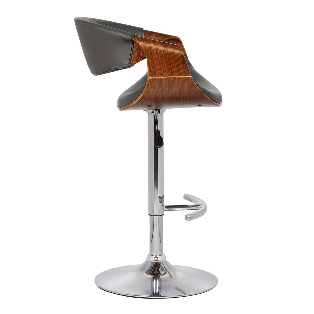 Adjustable Swivel Barstool in Gray Faux Leather with Chrome Finish and Walnut Wood. Picture 3