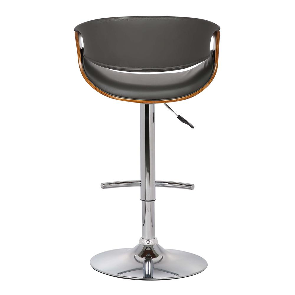 Adjustable Swivel Barstool in Gray Faux Leather with Chrome Finish and Walnut Wood. Picture 4