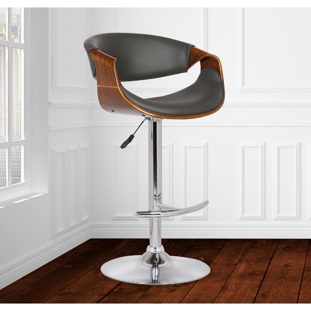 Adjustable Swivel Barstool in Gray Faux Leather with Chrome Finish and Walnut Wood. Picture 7