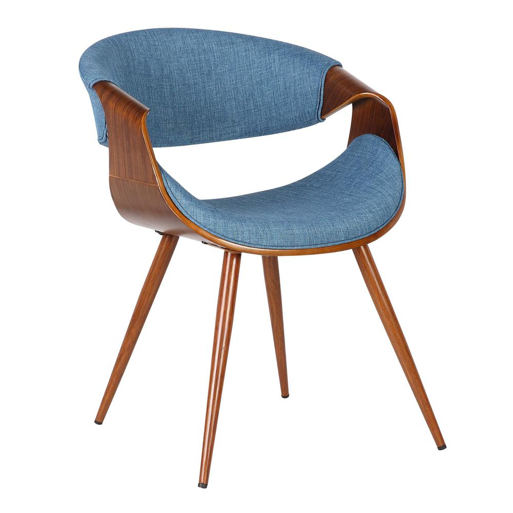 Mid-Century Dining Chair in Walnut Finish and Blue Fabric. Picture 1