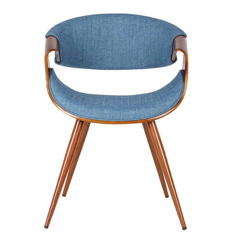 Mid-Century Dining Chair in Walnut Finish and Blue Fabric. Picture 2
